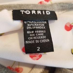 torrid Tops - torrid White and Gray Baseball Tee w/Cherries 2X